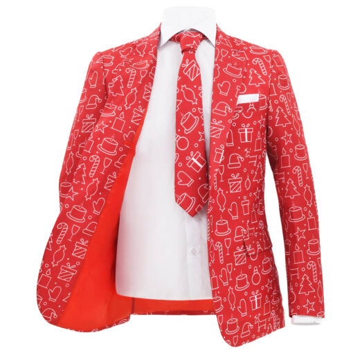 vidaXL jakkesæt i 2 dele med slips juledesign gaver str. 54 rød