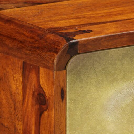vidaXL skænk massivt sheeshamtræ med gyldent print 90 x 30 x 77 cm