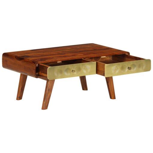 vidaXL sofabord massivt sheeshamtræ med gyldent print 90 x 50 x 40 cm