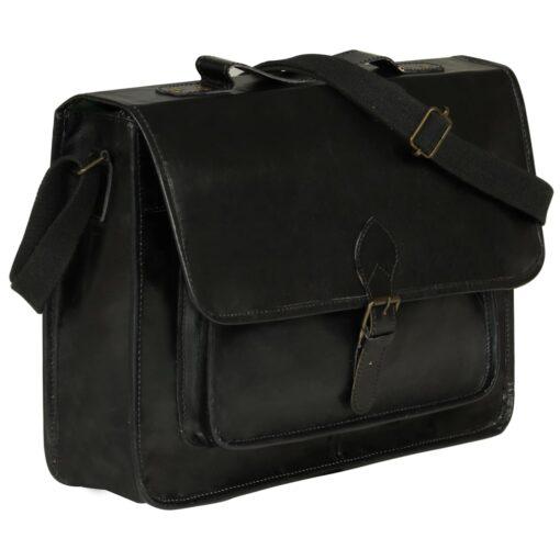 vidaXL computertaske ægte læder sort