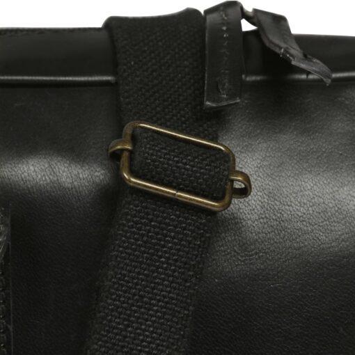 vidaXL computertaske med lynlås ægte læder sort