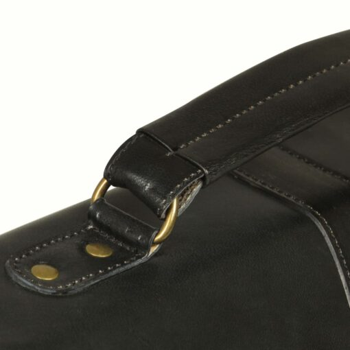 vidaXL attachetaske ægte læder sort