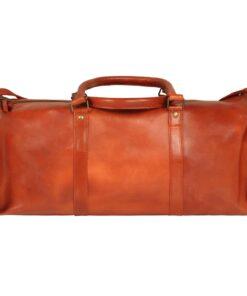 vidaXL duffeltaske ægte læder gyldenbrun