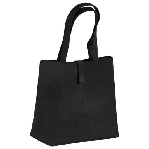 vidaXL shoppertaske ægte læder sort