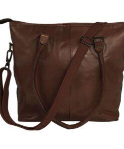 vidaXL shoppertaske ægte læder brun