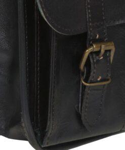 vidaXL skuldertaske ægte læder sort