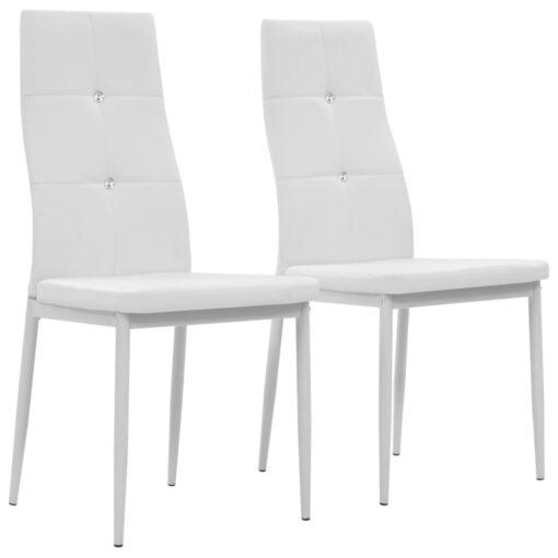 vidaXL spisebordsstole 2 stk. hvid kunstlæder