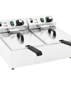 vidaXL dobbelt elektrisk frituregryde rustfrit stål 20 l 6000 W
