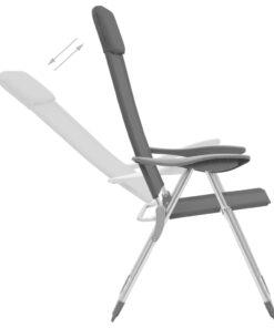 vidaXL foldbare campingstole 2 stk. aluminium grå