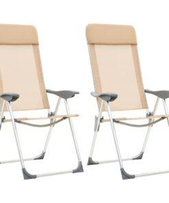 vidaXL foldbare campingstole 2 stk. aluminium cremefarvet