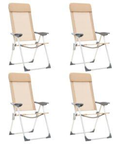 vidaXL foldbare campingstole 4 stk. aluminium cremefarvet