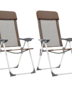 vidaXL foldbare campingstole 2 stk. aluminium brun