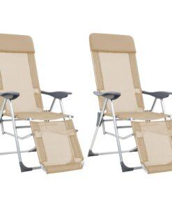 vidaXL foldbare campingstole med fodstøtte 2 stk. aluminium cremefarve