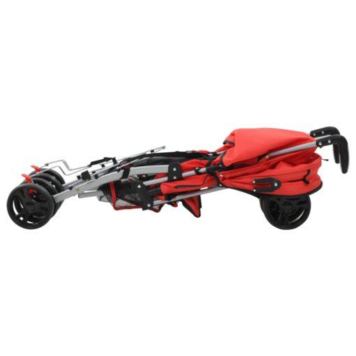 vidaXL 2-i-1 sammenfoldelig klapvogn stål rød