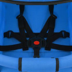 vidaXL 2-i-1 sammenfoldelig klapvogn stål blå