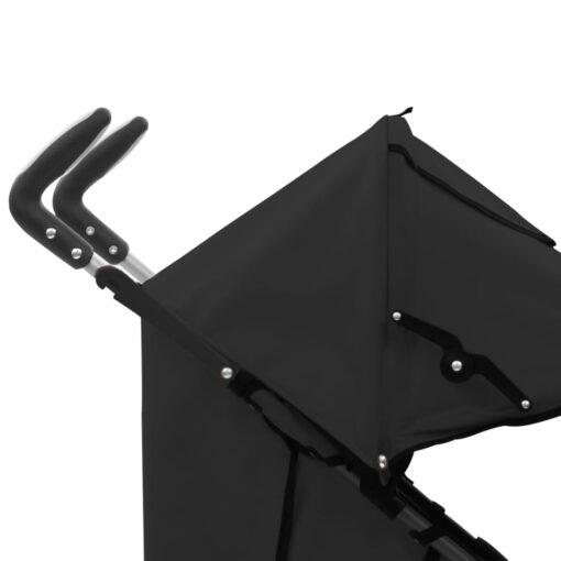 vidaXL 2-i-1 sammenfoldelig klapvogn stål sort