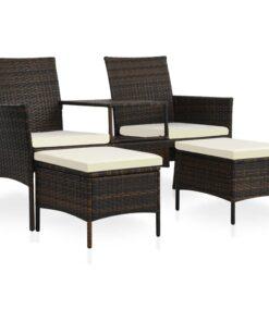 vidaXL 2-personers havesofa med bord og skamler polyrattan brun