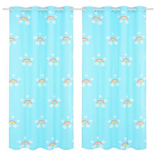 vidaXL mørklægningsgardiner med print til børn 2 stk. 140 x 240 cm regnbue blå