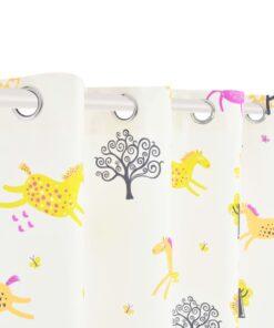 vidaXL mørklægningsgardiner print 2 stk. 140 x 240 cm heste og træer