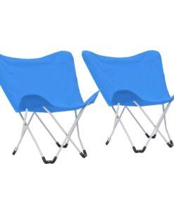 vidaXL campingstole sommerfugl 2 stk. foldbar blå