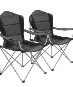 vidaXL foldbare campingstole 2 stk. 96 x 60 x 102 cm grå