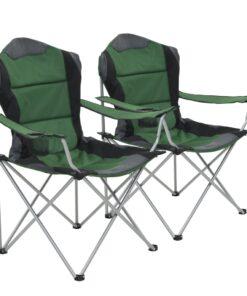 vidaXL foldbare campingstole 2 stk. 96 x 60 x 102 cm grøn