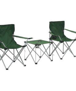 vidaXL campingbord og -stolesæt 3 dele grøn