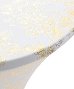 vidaXL bordduge strækbar 2 stk. 70 cm hvid med gyldent print
