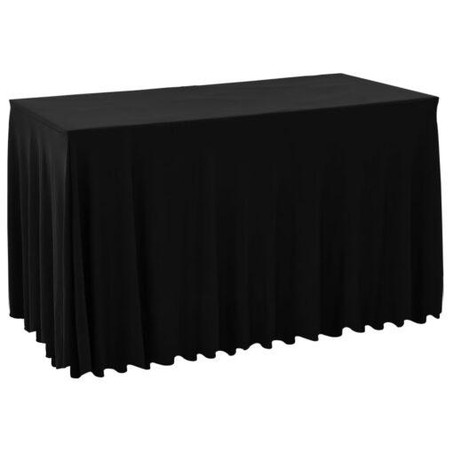 vidaXL strækbare bordduge skørt 2 stk. 120 x 60,5 x 74 cm sort