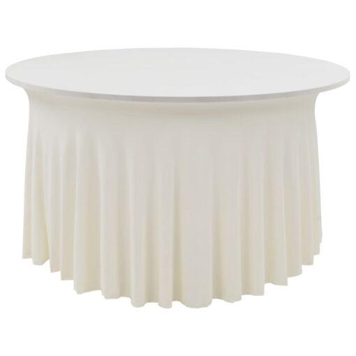 vidaXL strækbare bordduge med skørt 2 stk. 120 x 74 cm cremefarvet