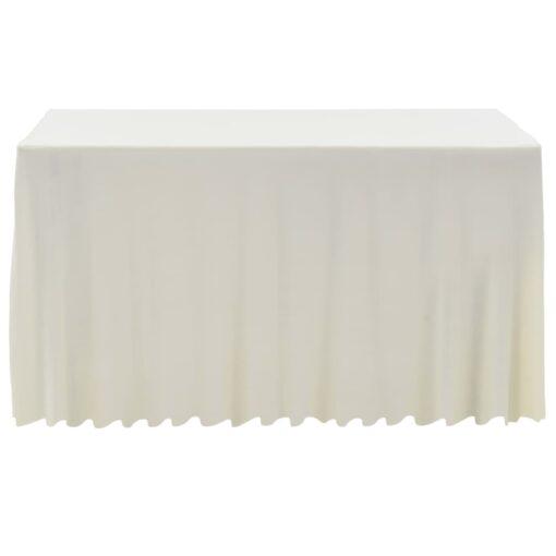 vidaXL strækbare bordduge skørt 2 stk. 243 x 76 x 74 cm cremefarvet