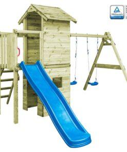 vidaXL legehus med stige, rutsjebane og gynger 390 x 353 x 268 træ