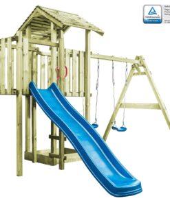 vidaXL legehus med stige, rutsjebane og gynger 407 x 381 x 263 cm træ