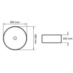 vidaXL badeværelseshåndvask med blandingsbatteri keramik rund hvid