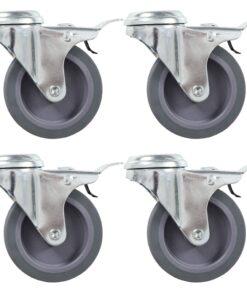 vidaXL drejehjul med bolthul og dobbelte bremser 4 stk. 75 mm