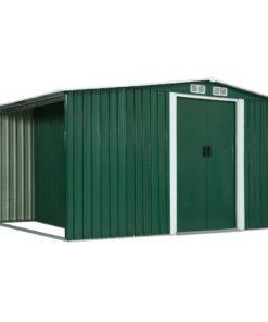 vidaXL haveskur med skydedøre 329,5 x 131 x 178 cm stål grøn