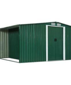 vidaXL haveskur med skydedøre 329,5 x 205 x 178 cm stål grøn