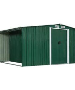 vidaXL haveskur med skydedøre 329,5 x 259 x 178 cm stål grøn