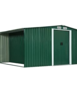 vidaXL haveskur med skydedøre 329,5 x 312 x 178 cm stål grøn