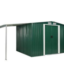vidaXL haveskur med skydedøre 386 x 205 x 178 cm stål grøn