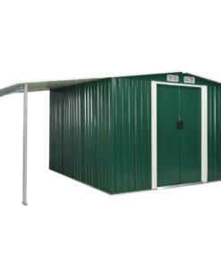 vidaXL haveskur med skydedøre 386 x 259 x 178 cm stål grøn