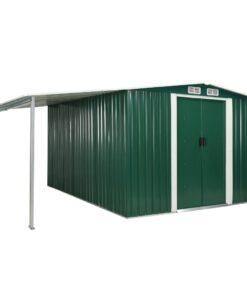 vidaXL haveskur med skydedøre 386 x 312 x 178 cm stål grøn