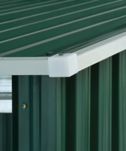 vidaXL haveskur med forlænget tag 335x236x184 cm stål grøn