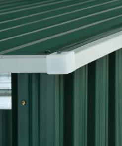 vidaXL haveskur med forlænget tag 335x278x184 cm stål grøn