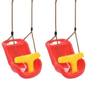 vidaXL 2 stk. babygynger med sikkerhedssele PP rød