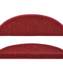 vidaXL 15 stk. trappemåtter 56 x 17 x 3 cm bordeauxrød