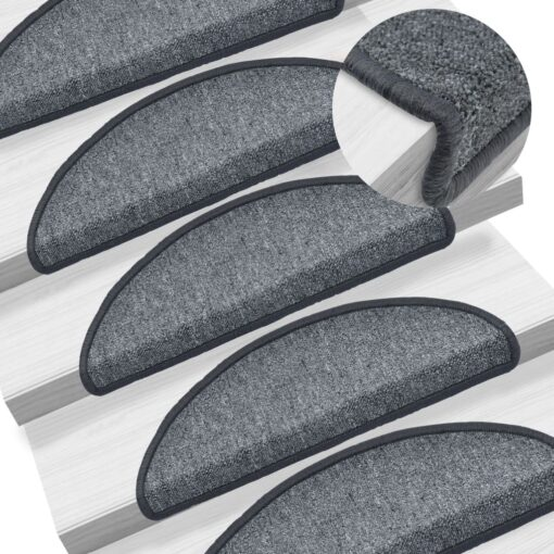 vidaXL 15 stk. trappemåtter 65 x 24 x 4 cm mørkegrå