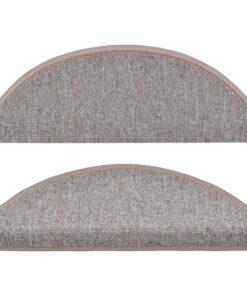 vidaXL 15 stk. trappemåtter 65 x 24 x 4 cm lysebrun