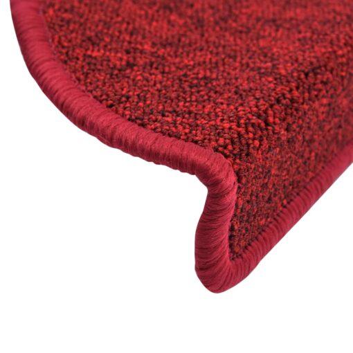vidaXL 15 stk. trappemåtter 65 x 24 x 4 cm bordeauxrød
