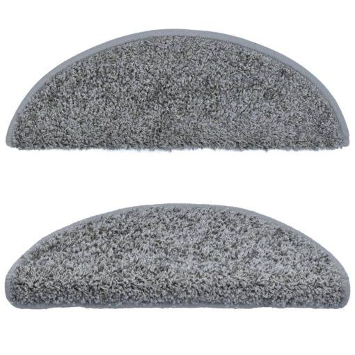 vidaXL 15 stk. trappemåtter 65 x 25 cm grå